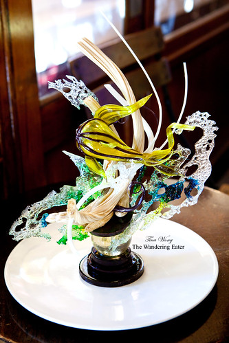 Pastry Chef/Owner Peter Rios' Abstract fish sugar sculpture