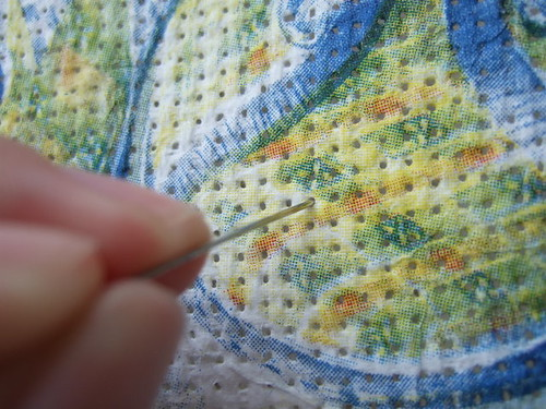 Cross-stitch imitation with decoupage