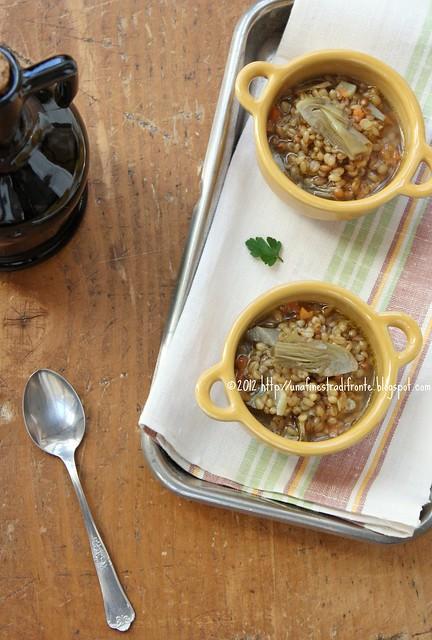 Zuppa di grano, carciofi (e bottarga)