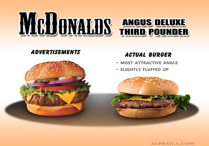 angus deluxe, third pounder, mcdonalds, fast food, false advertising, actual, false, comparison, ads, vs, reality, burger