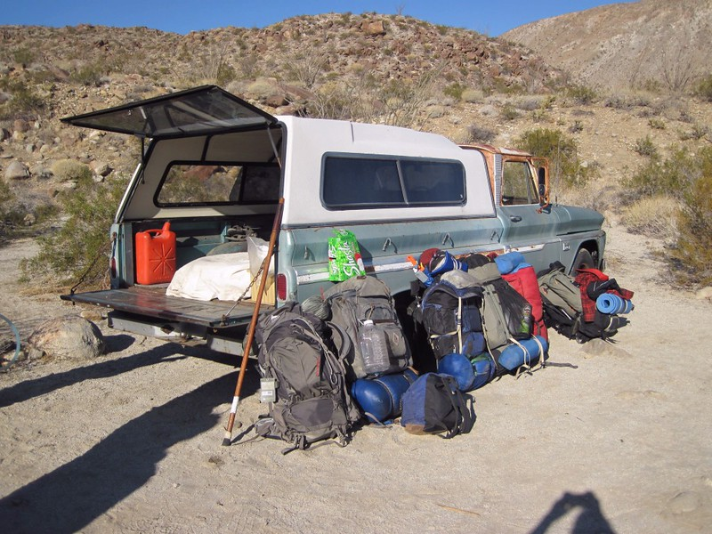 Six Backpacks and a Truck just beyond Third Crossing on Coyote Canyon Road