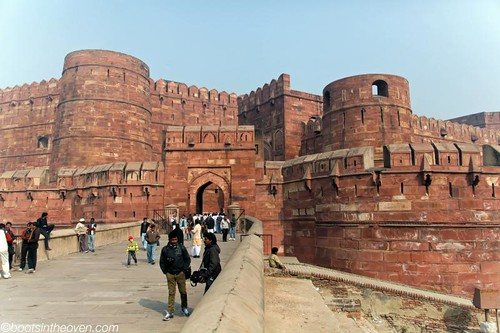 Entering the Imposing Agra Fort