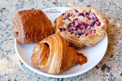 Plate of Chocolate croissant, Ham & cheese croissant, Cranberry Galette with Brown Butter Custard