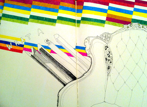 an illustration of an antique armchair, in black pen, with colorful, geometric shapes above it. Block letters saying WHAT A WASP emerge from the chair