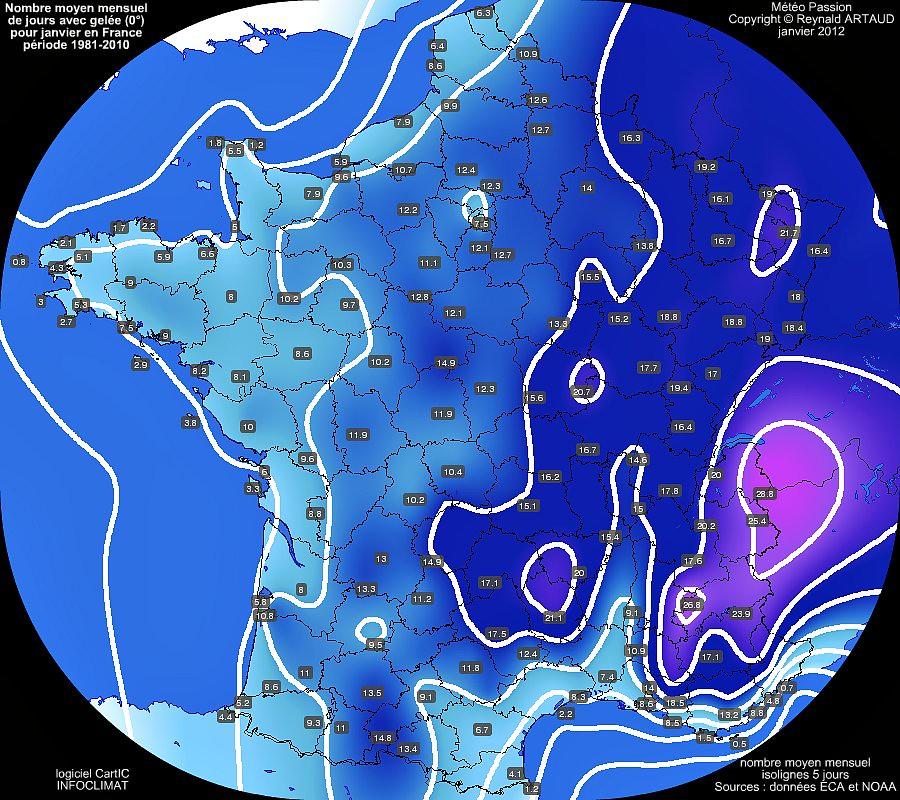 nombre moyen mensuel de jours avec gel�e 0� pour le mois de janvier en France sur la p�riode 1981-2010