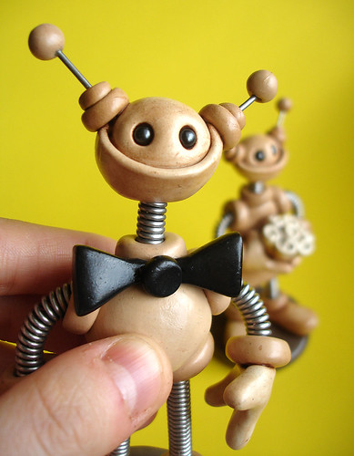 Robot Wedding Cake Topper | Neutral Lightly Rustic Neutral Shades by HerArtSheLoves