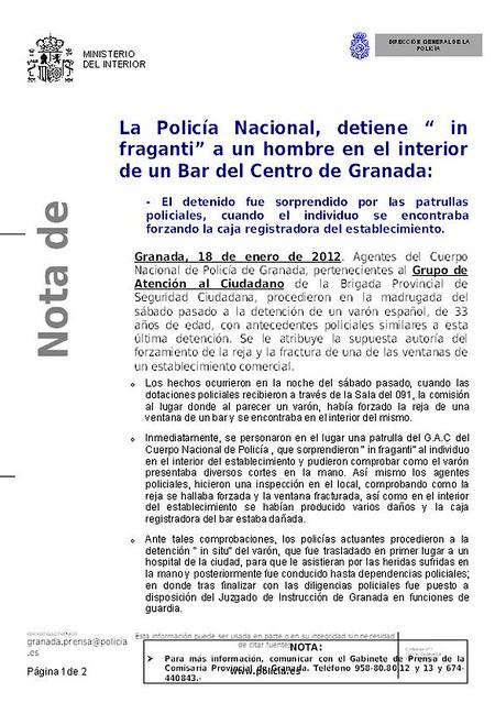 Nota de prensa de la Policia Nacional