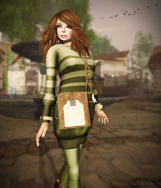 *BOOM* Oslo Baggy Sweater Dress-Moss (Close)