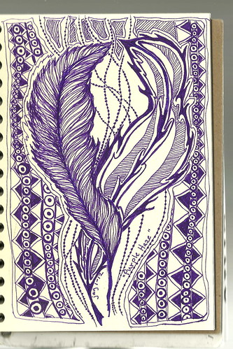 Zentangle challenge #54-Purple Haze by arts1plus