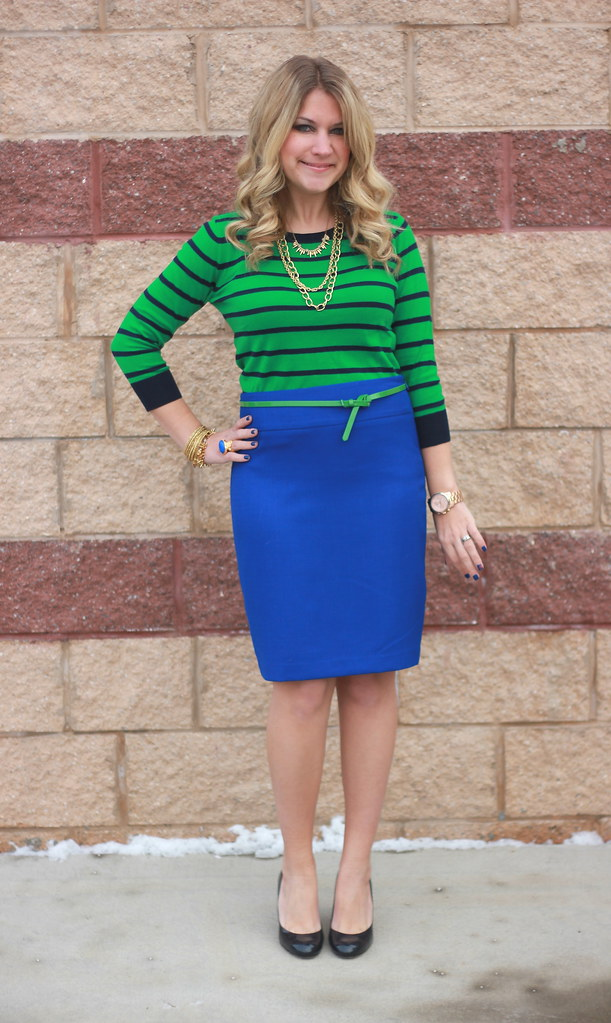 green striped sweater blue pencil skirt work outfit