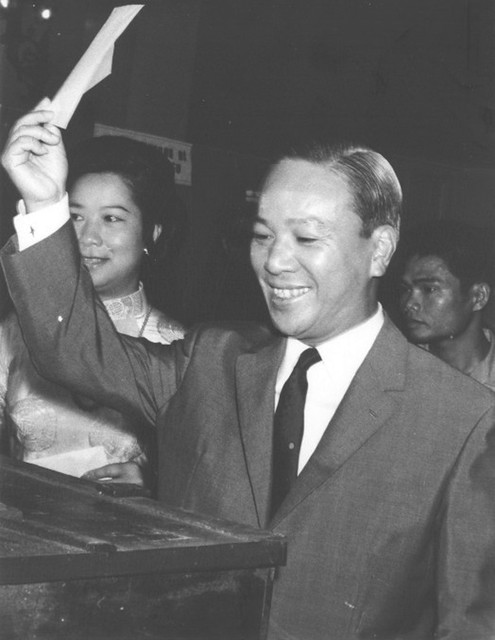 Nguyen Van Thieu casts his vote on election day 1970.