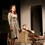 """Max (Matthew Boston) tricks Charlotte (Meg Gibson) into admitting her infidelity in the Huntington Theatre Company's production of """"The Real Thing,"""" part of the 2005-2006 season. Photo by T. Charles Erickson."""
