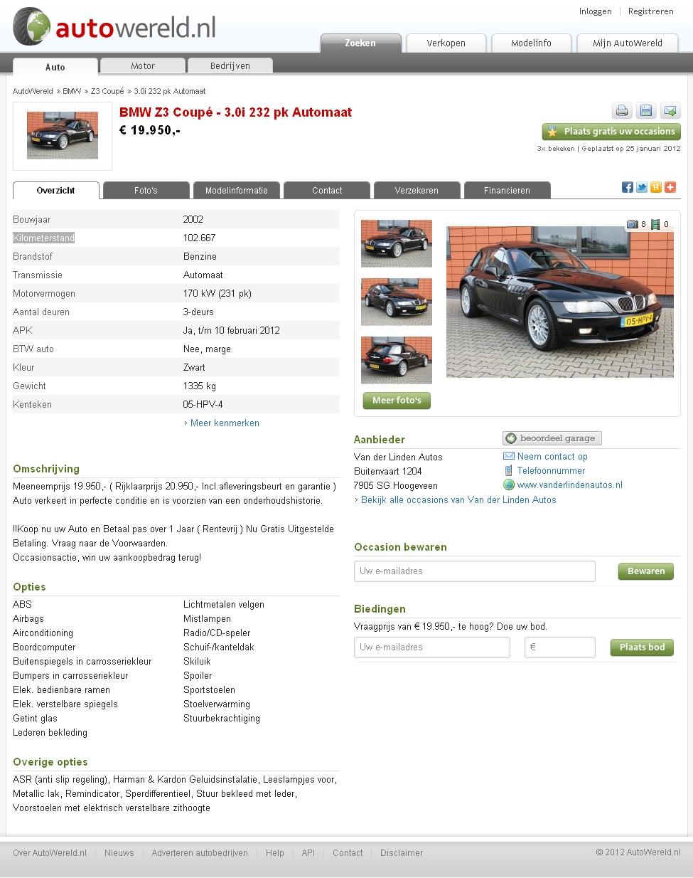 2002 Z3 Coupe | Jet Black | Black | Ad Screenshot