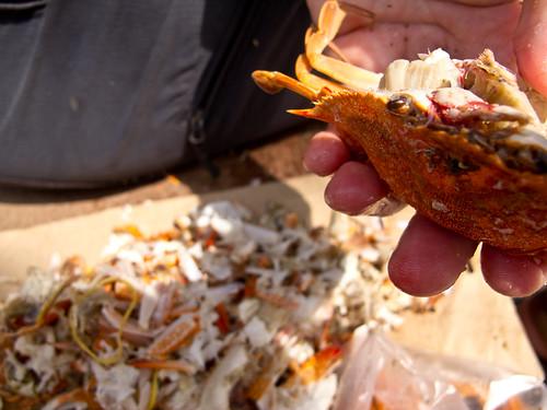 Eating crab at Kep beach