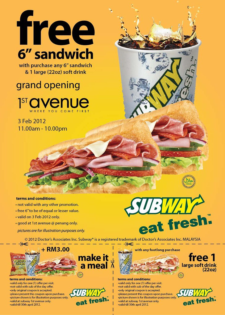 food promotion free 6 sandwich at subway 1st avenue mall nick chan dot net. Black Bedroom Furniture Sets. Home Design Ideas
