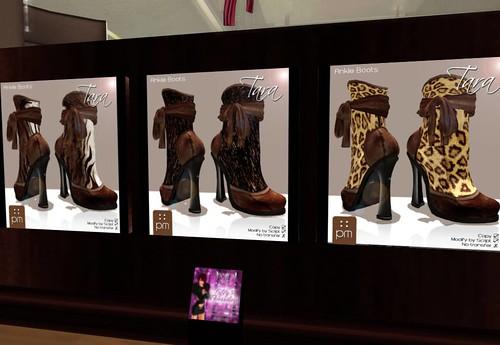 PurpleMoon Tara Ankle Boots (Brown Zebra/Brown Fur/Brown Tiger), 55 lindens by Cherokeeh Asteria
