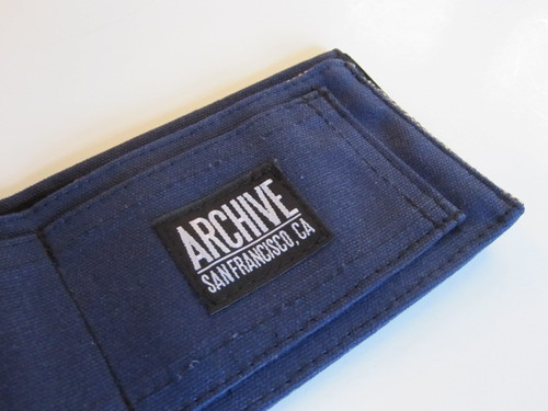 Navy waxed wallet by Archive Victor
