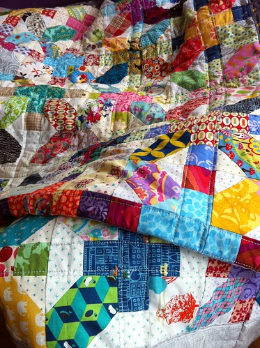 My lovely scrappy +and x quilt! by Whippet Good