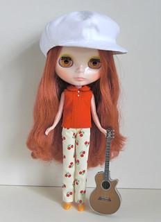 red cherry pants set