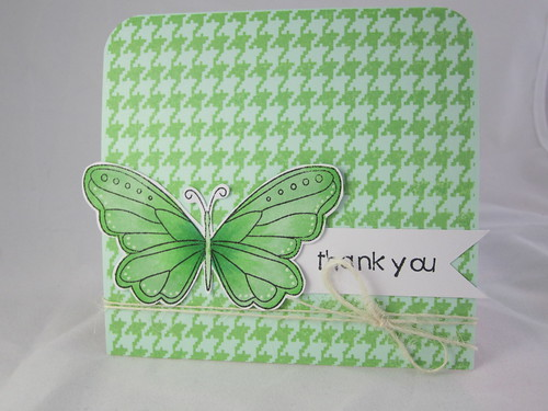 Butterfly Houndstooth thank you card