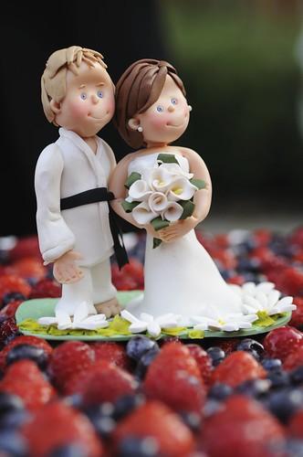 Cake Topper per Matrimonio per torta nuziale, con sposo cintura nera di Judo