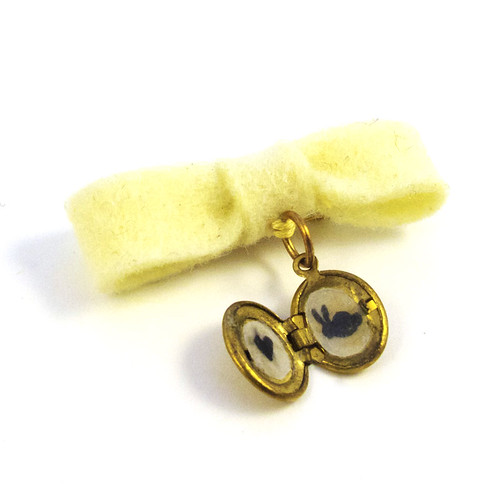 Fancy Bow Locket with Silhouette Bunny