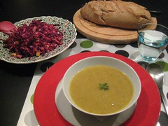 Spicy parsnip soup and red cabbage slaw