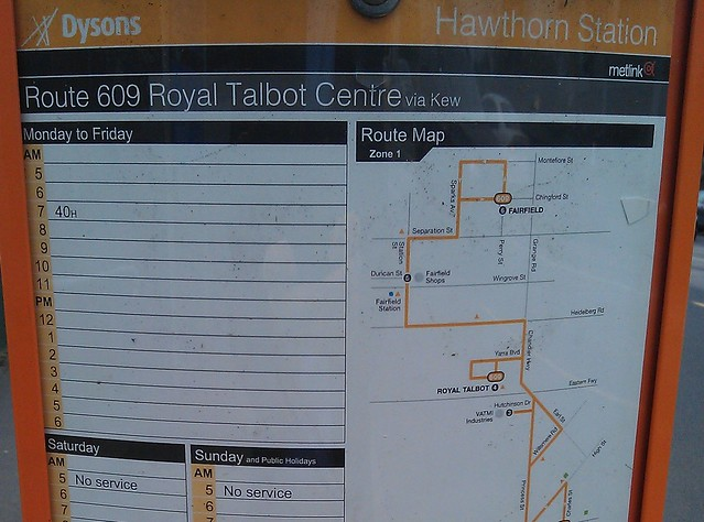 Bus: once a day, Hawthorn