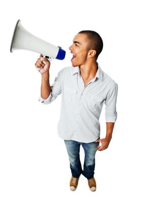 Young Man Yelling Through Megaphone