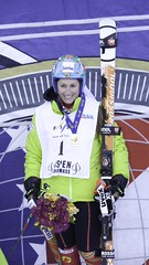 Marie-Pier Préfontaine wins the ladies' giant slalom in Aspen, USA, Wednesday.