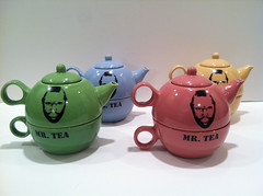 Mr Tea tea set--a tea pot and cup with a painting of Mr T on the side