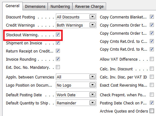 Stockout Warning Field in Sales & Receivables Setup Table in