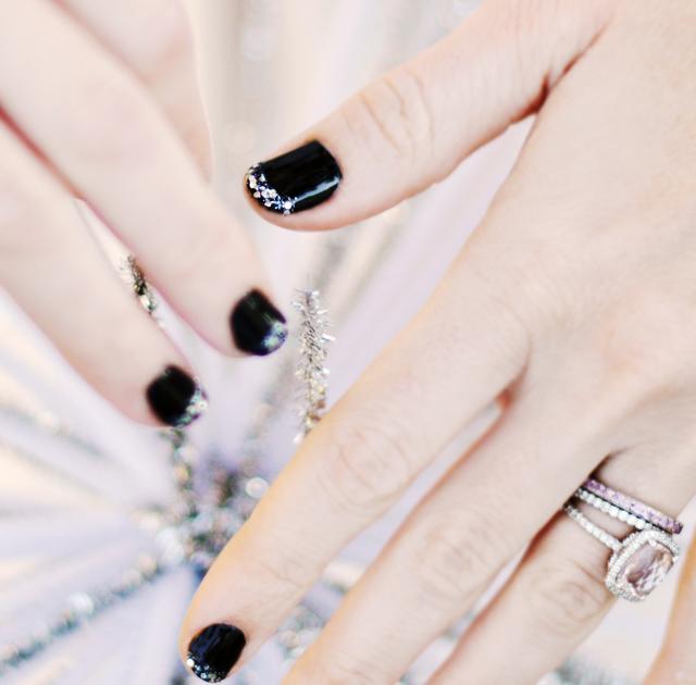 1-glitter tipped nails- glitter french manicure