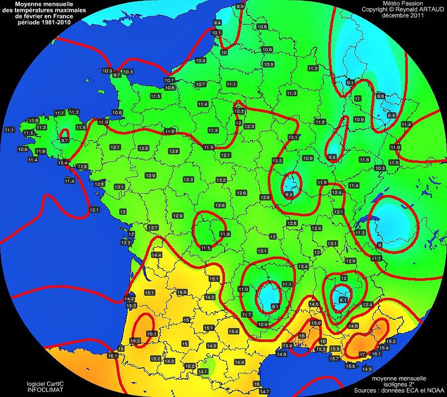 Moyennes mensuelles des températures maximales pour le mois de mars en France sur la période 1981-2010