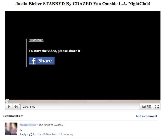 Justin Bieber Stabbed Facebook Scam