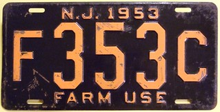NEW JERSEY 1953 ---FARM USE LICENSE PLATE