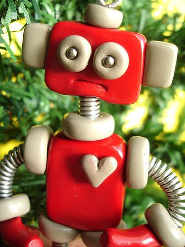 Robot Christmas Ornament | Red Ryan by HerArtSheLoves