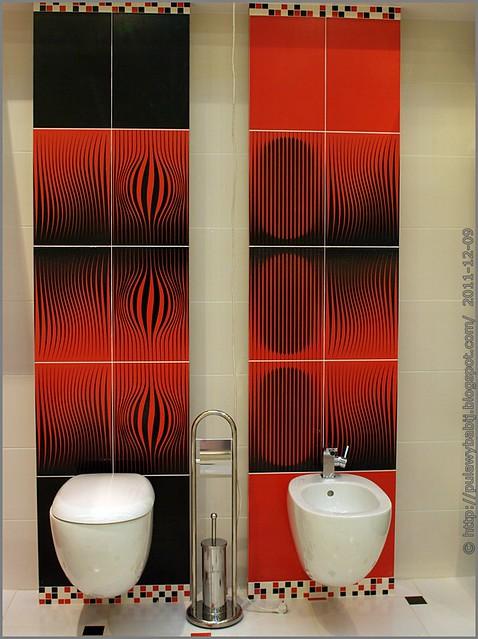 Nowoczesne WC czerwono-czarne