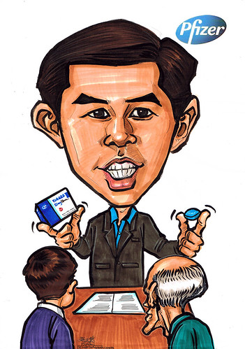Viagra marketing manager caricature for Pfizer