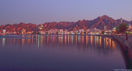 travel sea sky lights evening hills muscat matrah panaromafotografico