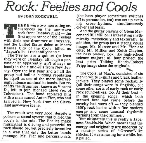 12-14-78 NYT REview - Feelies-Cools @ Max's Kansas City