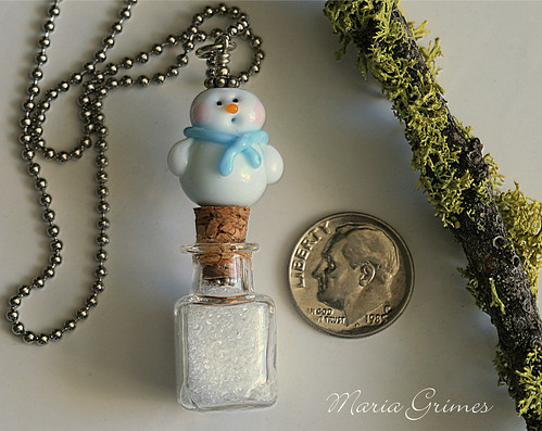 Let it Snow- Lampwork Necklace