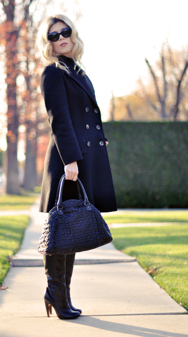 black coat-sunglasses - black boots - black bag