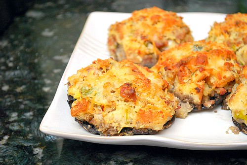 Leek & Sausage Stuffed 'Shrooms