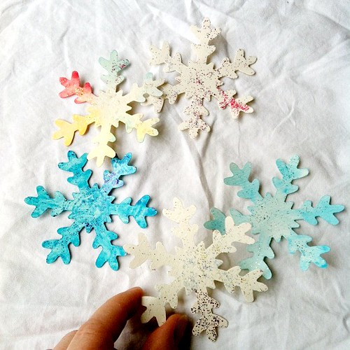 My daughter's water color snowflakes. With a little glitter too!