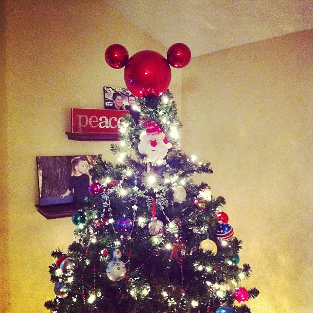 Project 365 352/365: Latest craft project: Mickey Ears Tree Topper. Using 3 plastic Christmas tree balls. I would have liked to have the ears bigger but it is fine!! Idea via #DisneylandHolidays #Disney #Christmas
