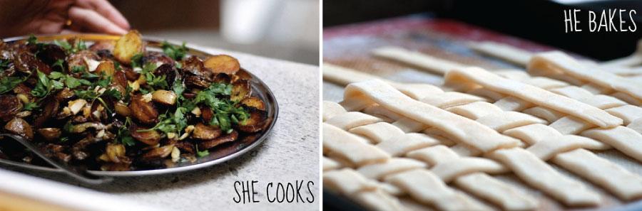 she cooks, he bakes