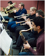 Rehearsing with trumpeters (L to R) Joseph Kaminski, Tony Gorruso, Jerry Sokolov & Shlomi Cohen on Sax.