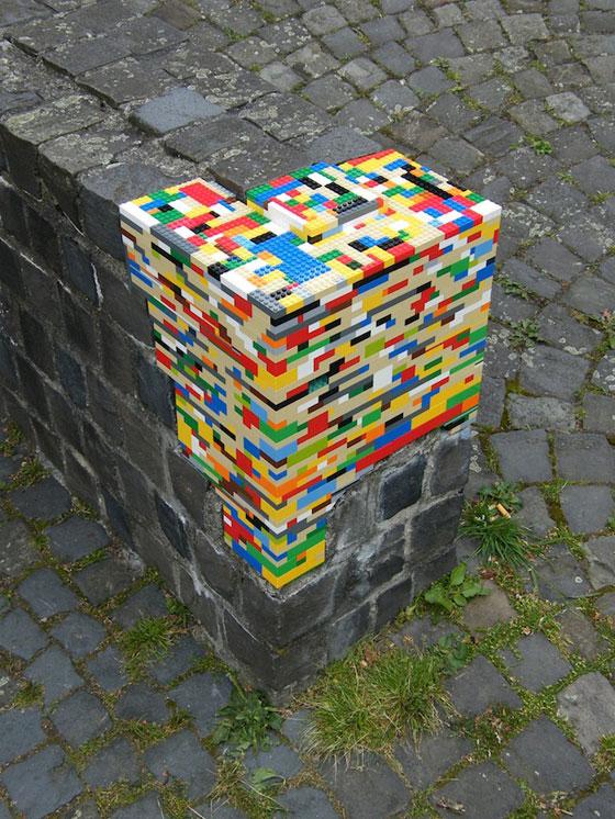 Lego street art, photo via Street Art Utopia
