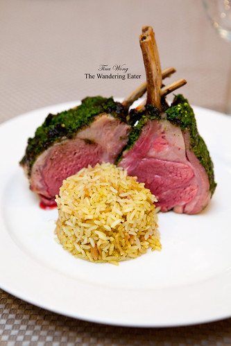 Frenched rack of lamb with roasted rosemary pesto from Pat LaFrieda